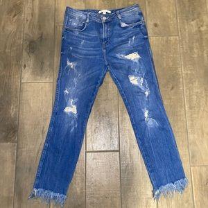 Zara Lightwash Ripped Boyfriend Jeans